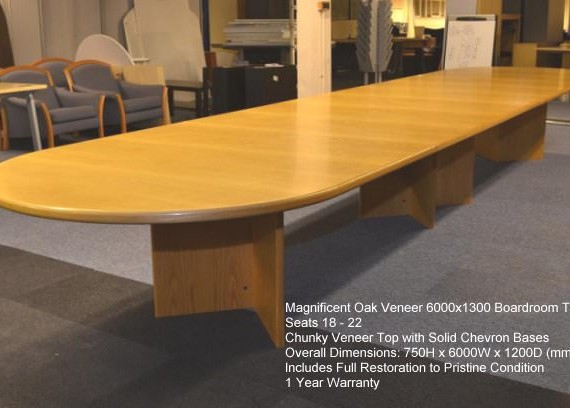 Oak Veneer Boardroom Table